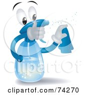 Royalty Free RF Clipart Illustration Of A Spray Bottle Character Squirting by BNP Design Studio