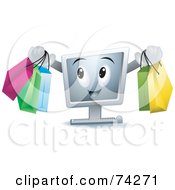 Royalty Free RF Clipart Illustration Of A Computer Character Carrying Shopping Bags by BNP Design Studio