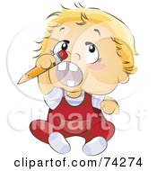 Blond Baby Trying To Stick A Pencil Up His Nose
