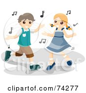 Royalty Free RF Clipart Illustration Of A Boy And Girl Dancing With Music Notes