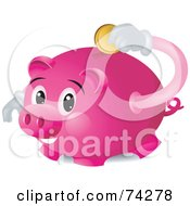 Royalty Free RF Clipart Illustration Of A Pink Piggy Bank Character Inserting A Coin