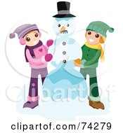 Royalty Free RF Clipart Illustration Of A Boy And Girl Making A Snowman Together