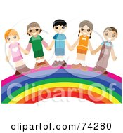 Group Of Happy Children Holding Hands And Standing On A Rainbow
