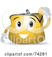 Royalty Free RF Clipart Illustration Of A Coin Purse Character Inserting Change by BNP Design Studio