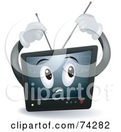 Royalty Free RF Clipart Illustration Of A Television Character Adjusting His Antennae by BNP Design Studio