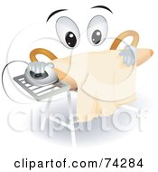 Royalty Free RF Clipart Illustration Of An Ironing Board Character Doing Laundry