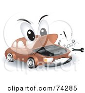 Royalty Free RF Clipart Illustration Of A Broken Down Car Character
