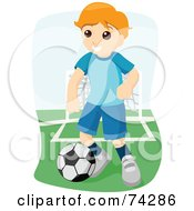 Royalty Free RF Clipart Illustration Of A Blond Boy Playing A Game Of Soccer