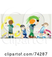 Royalty Free RF Clipart Illustration Of Four Children Painting A Wall With Bright Paint