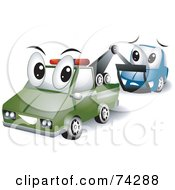 Royalty Free RF Clipart Illustration Of A Tow Truck Character Towing A Car