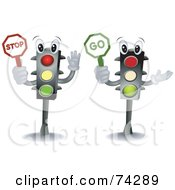 Royalty Free RF Clipart Illustration Of Two Traffic Light Characters Holding Stop And Go Signs by BNP Design Studio