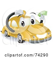 Royalty Free RF Clipart Illustration Of A Yellow Car Character Saving Money