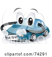 Royalty Free RF Clipart Illustration Of A Blue Car Character With A For Rent Sticker