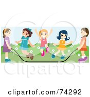 Group Of Happy Girls Jumping Rope At Recess