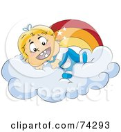 Royalty Free RF Clipart Illustration Of A Happy Baby On A Cloud Under A Rainbow