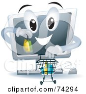 Royalty Free RF Clipart Illustration Of A Computer Character Shopping