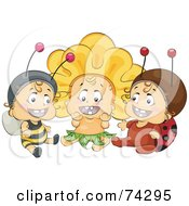 Royalty Free RF Clipart Illustration Of A Group Of Three Happy Babies In Bee Flower And Ladybug Costumes by BNP Design Studio