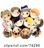 Royalty Free RF Clipart Illustration Of A Group Of Happy Children In A Huddle Looking Up