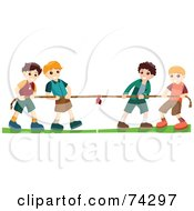 Group Of Four Boys Playing Tug Of War