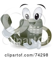 Royalty Free RF Clipart Illustration Of A Friendly Telephone Character Holding The Receiver