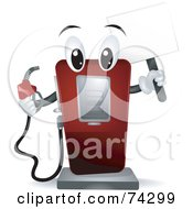 Gas Pump Character Holding A Blank Sign