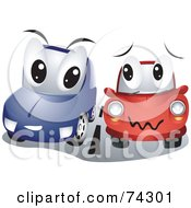 Royalty Free RF Clipart Illustration Of Blue And Red Cars Driving Side By Side