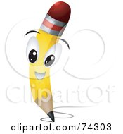 Royalty Free RF Clipart Illustration Of A Yellow Pencil Character Scribbling by BNP Design Studio