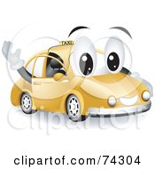 Royalty Free RF Clipart Illustration Of A Taxi Character Waving