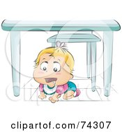 Royalty Free RF Clipart Illustration Of A Drooling Blond Baby Crawling Under A Table