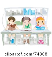 Royalty Free RF Clipart Illustration Of Three Happy School Children Reading Books In A Library