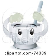 Royalty Free RF Clipart Illustration Of A Mortar And Pestle Character Mixing