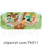 Royalty Free RF Clipart Illustration Of A Group Of Children Playing In A Large Tree by BNP Design Studio