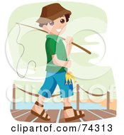 Royalty Free RF Clipart Illustration Of A Happy Little Boy Going Fishing by BNP Design Studio