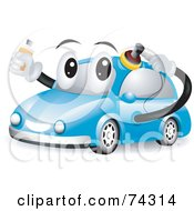 Royalty Free RF Clipart Illustration Of A Blue Car Character Polishing Itself