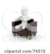 3d White Character Relaxing In A Chair With Coffee