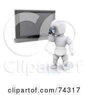 Royalty Free RF Clipart Illustration Of A 3d White Character Filming By A TV by KJ Pargeter