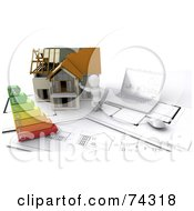 Royalty Free RF Clipart Illustration Of A 3d White Character Builder With A Home Blueprints And Energy Chart by KJ Pargeter