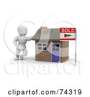 Royalty Free RF Clipart Illustration Of A 3d White Character Realtor Leaning By A Sold House