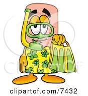 Bandaid Bandage Mascot Cartoon Character In Green And Yellow Snorkel Gear by Toons4Biz