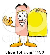 Clipart Picture Of A Bandaid Bandage Mascot Cartoon Character Holding A Yellow Sales Price Tag by Toons4Biz