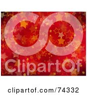 Royalty Free RF Clipart Illustration Of A Red And Orange Christmas Background Of Glittery Stars