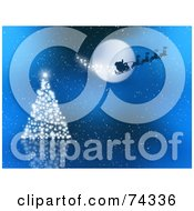 Royalty Free RF Clipart Illustration Of A Blue Christmas Background With Santas Sleigh Over A Sparkly Tree
