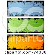 Royalty Free RF Clipart Illustration Of A Digital Collage Of Blue Green And Orange Grungy Banners