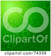 Royalty Free RF Clipart Illustration Of A Glowing Green Starry Background