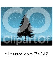 Royalty Free RF Clipart Illustration Of A Blue Christmas Background With A Black Silhouetted Tree In The Snow