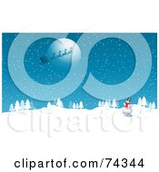 Royalty Free RF Clipart Illustration Of A Happy Snowman Watching Santas Sleigh Flying In Front Of The Full Moon by KJ Pargeter