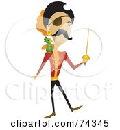 Royalty Free RF Clipart Illustration Of A Male Pirate With A Sword And Parrot by BNP Design Studio