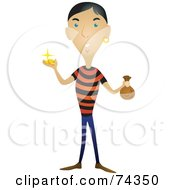 Royalty Free RF Clipart Illustration Of A Male Pirate Holding Gold And Bags