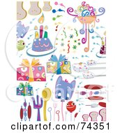 Royalty Free RF Clipart Illustration Of A Digital Collage Of Party Doodle Items On White by BNP Design Studio