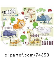 Royalty Free RF Clipart Illustration Of A Digital Collage Of Zoo Animal Doodled On White by BNP Design Studio